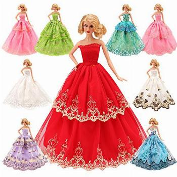 BARWA 5 Pcs Handmade Doll Clothes Wedding Gowns Party
