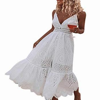 BerryGo Women's Embroidery Pearl Button Down Dress V Neck