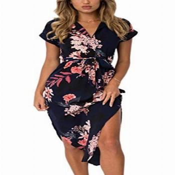 ECOWISH Womens Dresses Summer Casual V-Neck Floral Print
