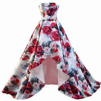 FTBY Women's Strapless Print Floral Homecoming Dresses Hi-Lo