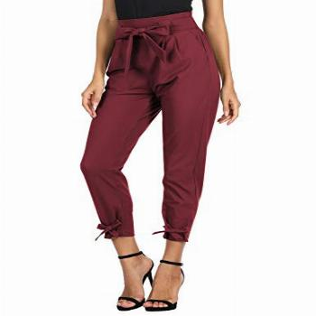GRACE KARIN Women's Cropped Paper Bag Waist Pants with