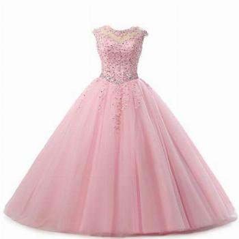 HEIMO Lace Appliques Ball Gown Evening Prom Dress Beading