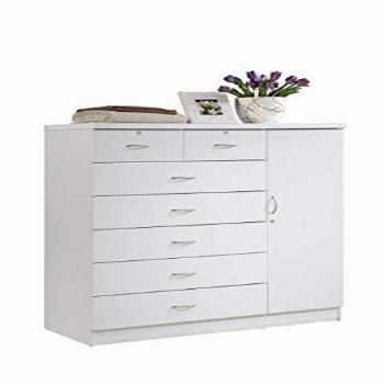 Hodedah 7-Drawer Dresser with Side Cabinet Equipped with