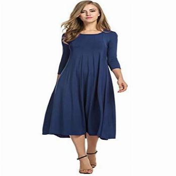 Hotouch Women's Round Neck Casual Pleated Tshirt Midi Dress
