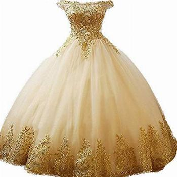 inmagicdress Women Ball Gowns Gold Lace Appplique