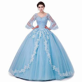 Lace Appliques Quinceanera Dresses Ball Gown Long Sleeves