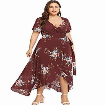 Milumia Plus Size Casual V Neck Belted Empire Waist