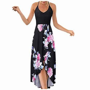 OutTop Women's Strappy V Neck Maxi Dress Sleeveless Summer