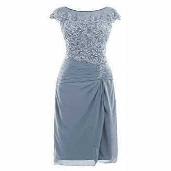 Petite Mother of The Bride Dresses Knee Length with Cap