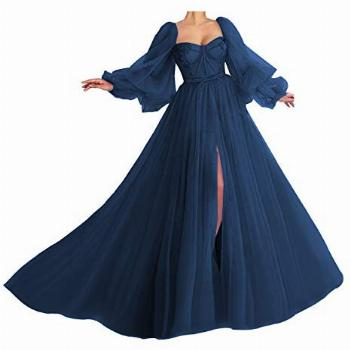 Princess Prom Dress Ball Gown Puffy Sleeve Long Sweetheart