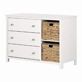South Shore Dresser with Baskets, Pure White and Green