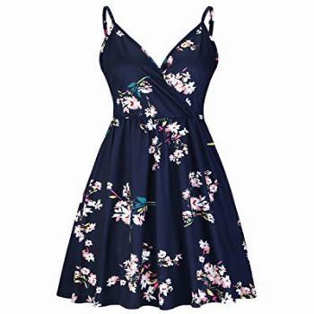STYLEWORD Womens Casual Dresses Floral Spaghetti Strap V