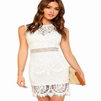 Verdusa Women's Sleeveless Scalloped Hem Fitted Floral Lace