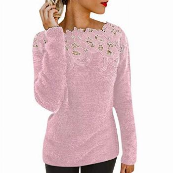 Women Fluffy Sweater Pullover Blouse Long Sleeve Hollow Out