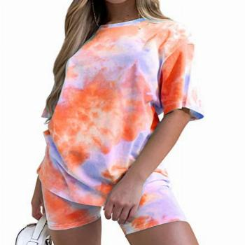 Women Short-Sets Two-Piece Summer Outfit - Short Sleeve