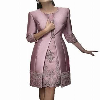 Women's Mother of The Bride Dress Lace Applique with Jacket