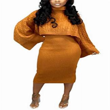 Women's Sweater Dress 2 Piece Outfits Cable Knit Ribbed