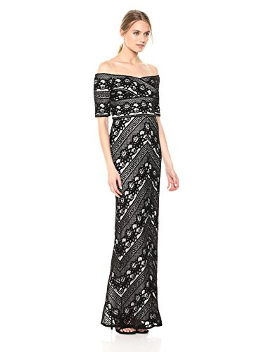 Adrianna Papell Womens Off Shoulder Stripe LACE Column