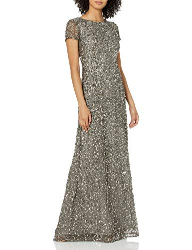 Adrianna Papell Womens Short Sleeve All Over Sequin Gown,