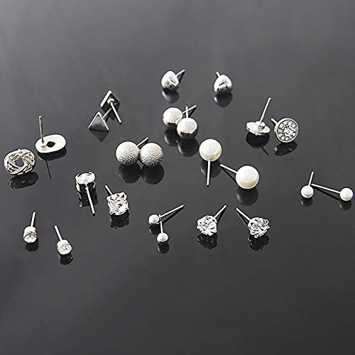 Aganippe 24 Pairs Silver/Gold Tune Assorted Earrings Set for