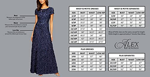 Alex Evenings Womens Sequin Lace Mock Dress (Petite and