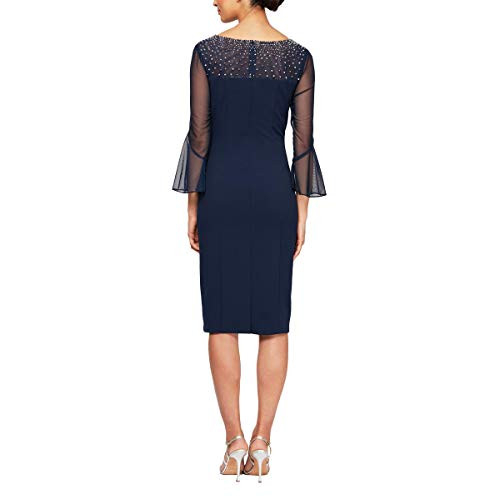 Alex Evenings Womens Short Shift Dress with Embellished