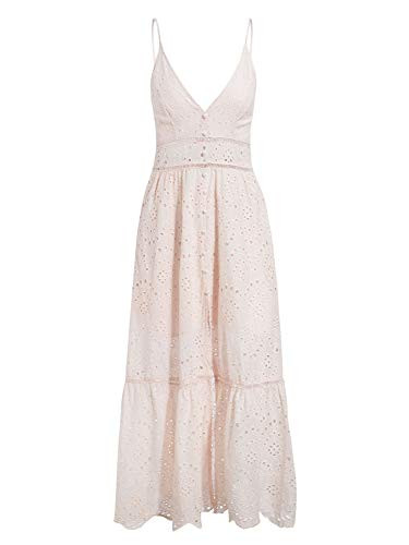 BerryGo Womens Embroidery Pearl Button Down Dress V Neck
