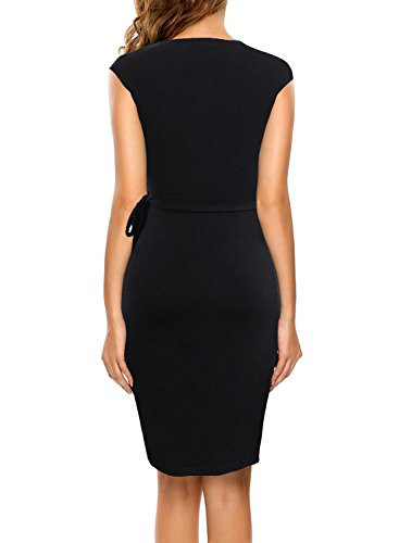 Berydress Womens Stretchy Cotton Blend Solid Knee Length