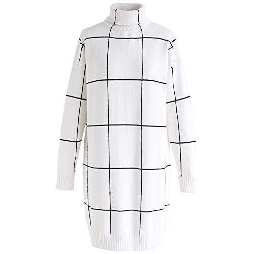 Chicwish Womens Comfy Casual Black White Contract Grid