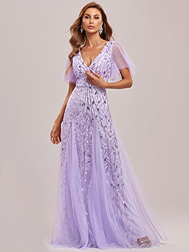 Evre-Pretty Womens Maxi V Neck Sequin Embroidered Mother of