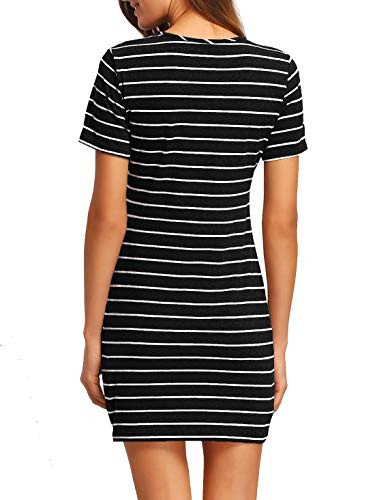 Floerns Womens Casual Short Sleeve Striped Bodycon T Shirt