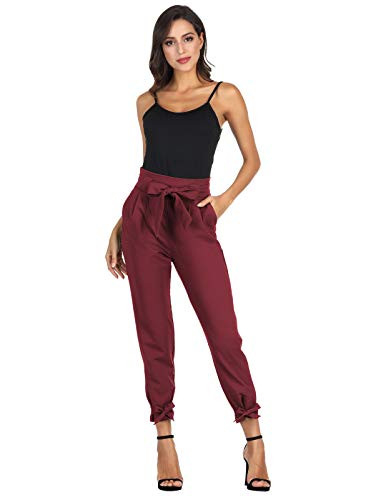 GRACE KARIN Womens Cropped Paper Bag Waist Pants with