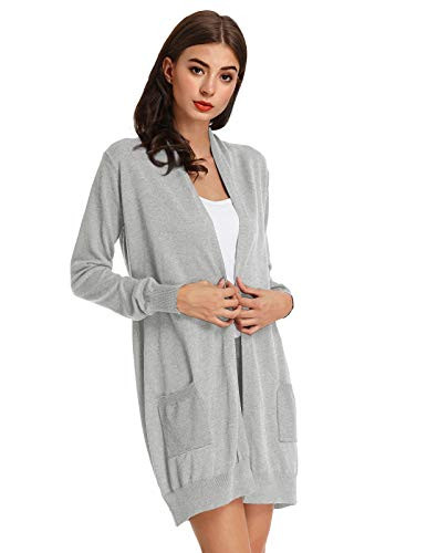 GRACE KARIN Womens Open Front Long Sleeve Solid Color Knit