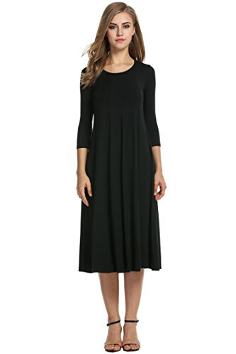 Hotouch Womens 3/4 Sleeve Casual Loose Solid Midi T-Shirt