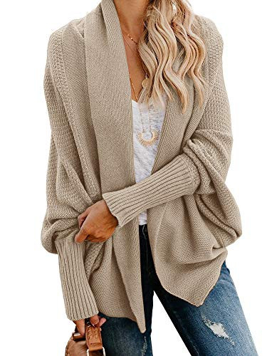 Imily Bela Womens Kimono Batwing Cable Knitted Slouchy