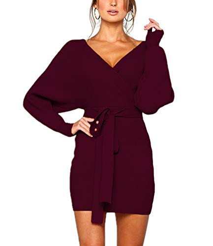 Mansy Womens Sexy Cocktail Batwing Long Sleeve Backless