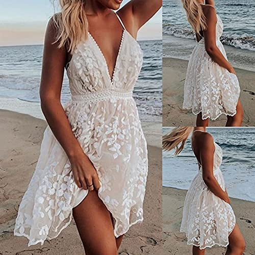 MIANHT Summer Dress for Women Lace Backless V Neck Spaghetti