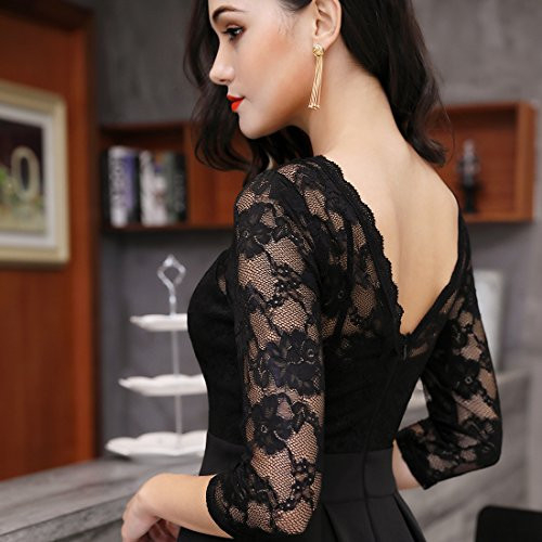 Miusol Womens Vintage Floral Lace 2/3 Sleeve Cocktail Party