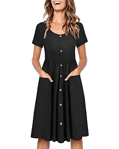 OUGES Womens Long Sleeve V Neck Button Down Midi Skater