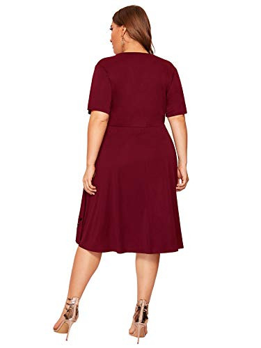 Romwe Womens Plus Size Cut Out A Line Swing Stretchy Midi