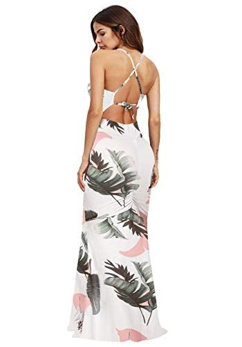 SheIn Womens Floral Strappy Backless Summer Evening Party