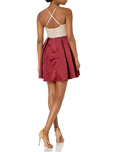 Speechless Womens High Neck Sleeveless Fit and Flare Party