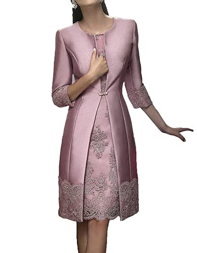 Womens Mother of The Bride Dress Lace Applique with Jacket