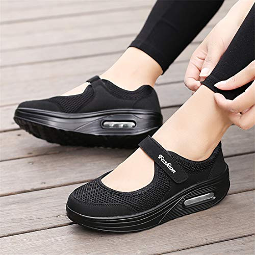 Womens Solid Color Air Cushion Heighten Shoes Light Lounger