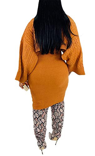 Womens Sweater Dress 2 Piece Outfits Cable Knit Ribbed