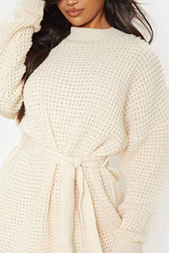 ZESICA Womens Long Sleeve Solid Color Waffle Knitted Tie